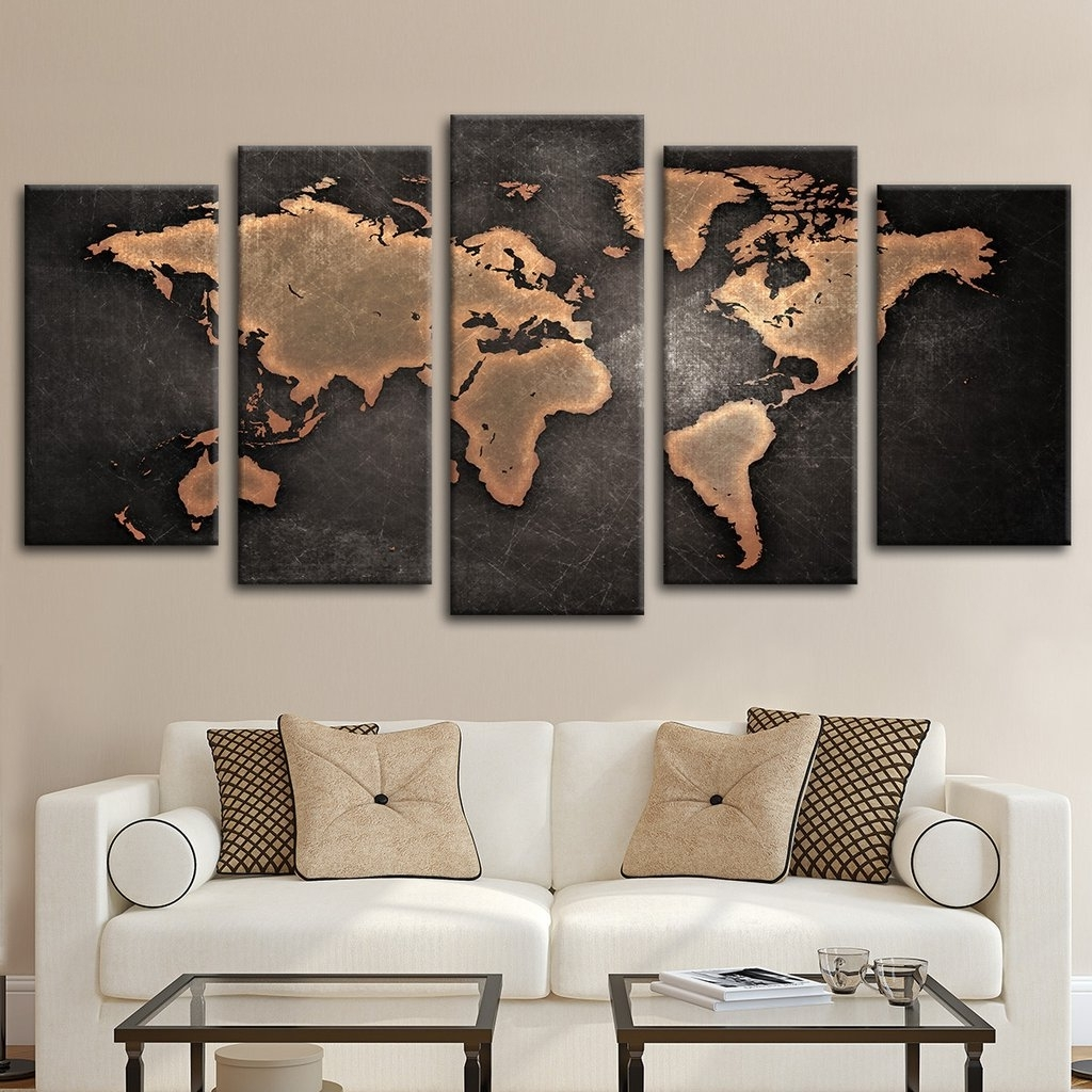 Well Liked Cool Map Wall Art Pertaining To Copper World Map Multi Panel Canvas Wall Art Elephantstock With (View 17 of 20)