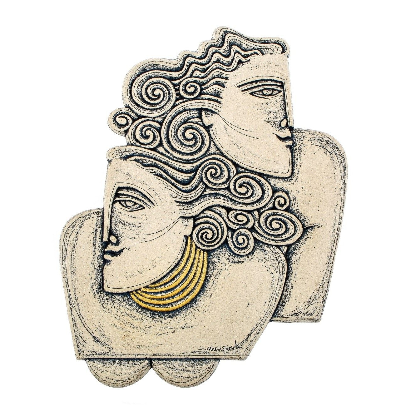 Well Liked Couple Figurines Ceramic Handmade Sculpture Wall Art Decor – Archaic For Ceramic Wall Art (View 19 of 20)