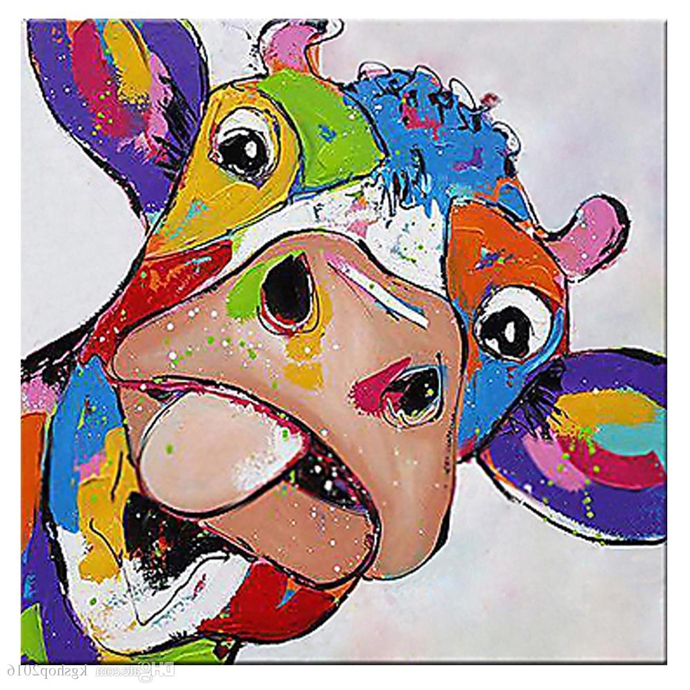 Well Liked Cow Canvas Wall Art Pertaining To 2018 Kagree Colorful Cow Head Painting Cute Animal Paintings Funny (View 19 of 20)