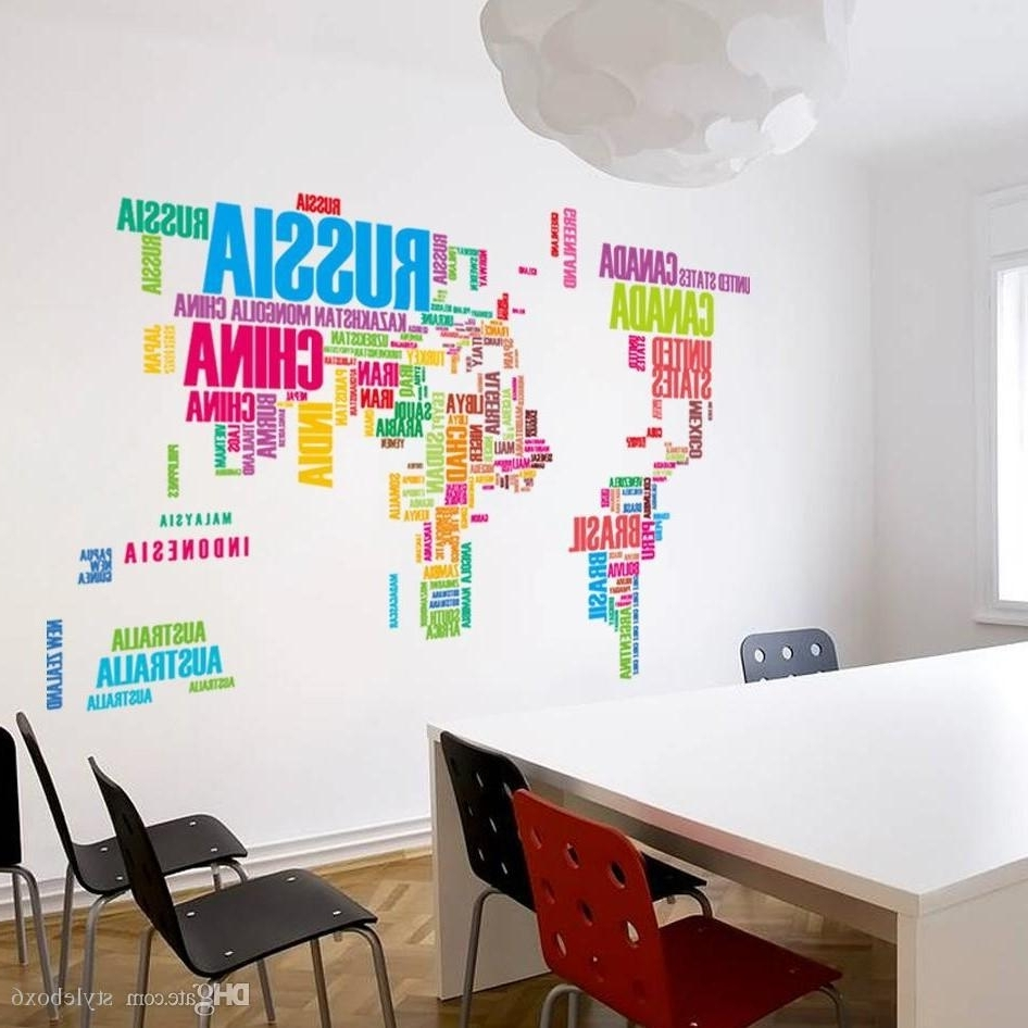 Well Liked Diy World Map Wall Art In Wallpaper Colorful Letters World Map Wall Stickers Living Home (View 18 of 20)