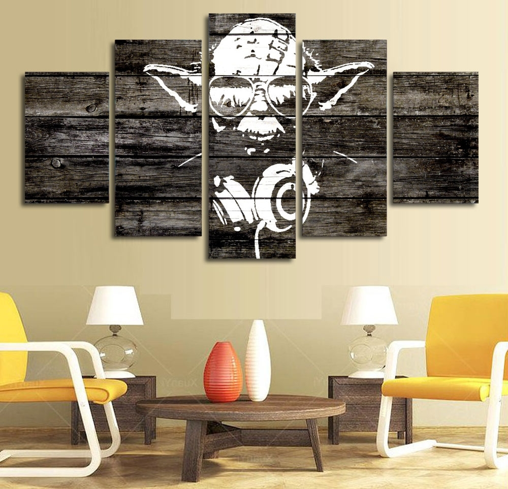 Well Liked Dj Yoda Star Wars Music Master Hd Print 5 Panel Wall Art – Man Cave Kit Inside Star Wars Wall Art (View 15 of 15)