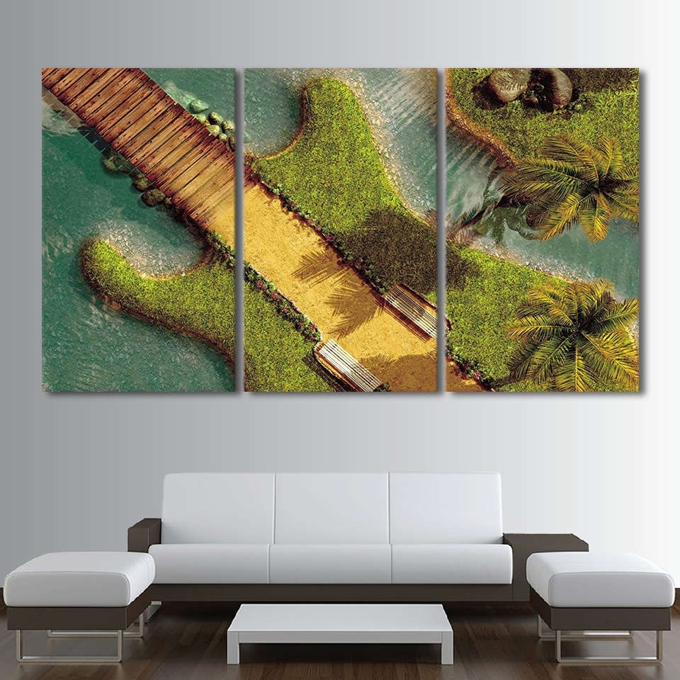 Well Liked Electric Guitar As An Tropical Island Wall Art Multi Panel Canvas For Tropical Wall Art (Gallery 18 of 20)
