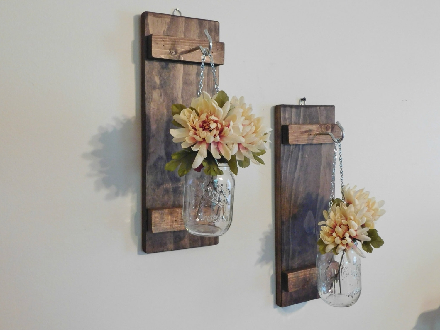 Well Liked Hanging Mason Jar Wall Sconce Flower Vase Candle Sconce Wall, Mason With Mason Jar Wall Art (View 20 of 20)
