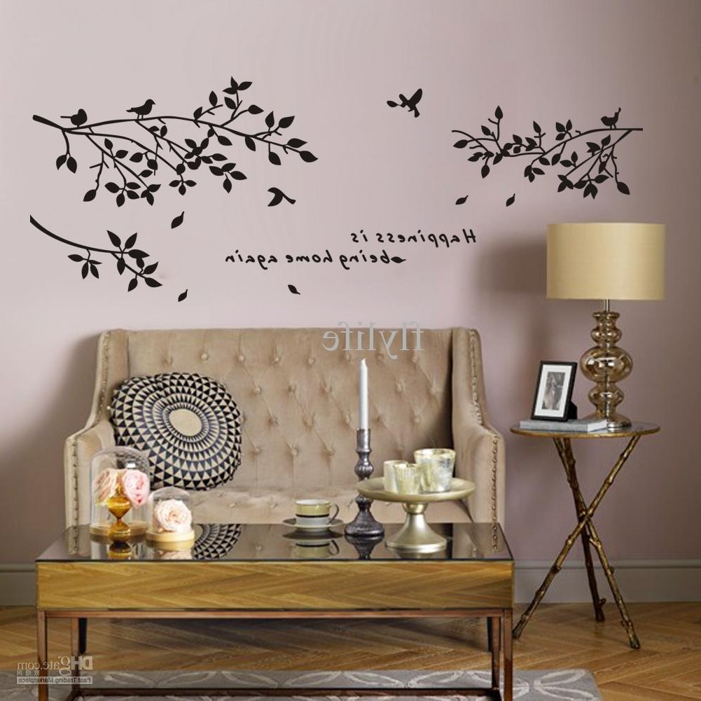 Well Liked Home Wall Art Pertaining To Happiness Is Being Home Again Vinyl Quotes Wall Stickers And Black (View 19 of 20)