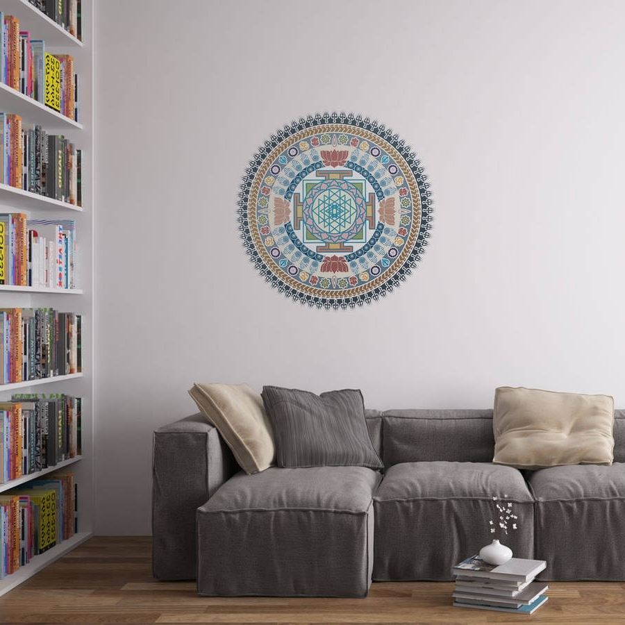 Well Liked Indian Spiritual Mandala Wall Art Stickervinyl Revolution With Regard To Mandala Wall Art (View 17 of 20)