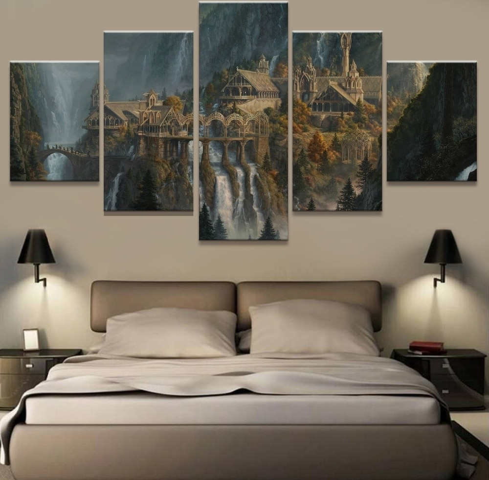 Well Liked Lord Of The Rings Wall Art Pertaining To Wall Art 5 Panel Painting Lord Of The Rings Modern Home Decor Canvas (View 19 of 20)