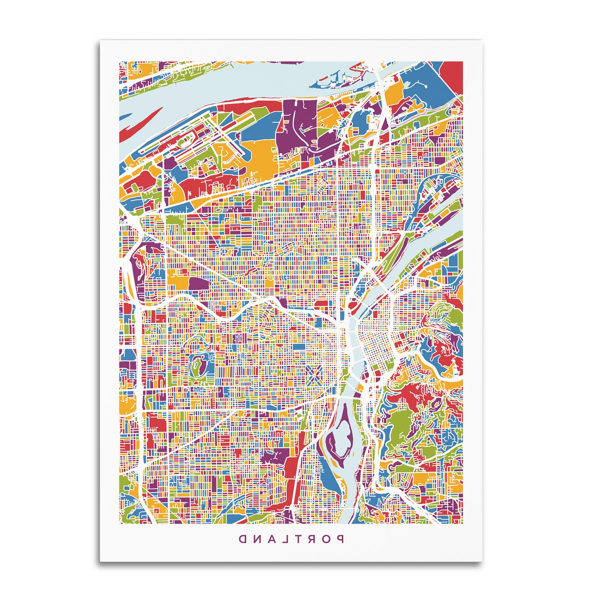 Well Liked Portland Map Wall Art With Regard To Trademark Art 'portland Oregon City Street Map' Graphic Art Print On (View 19 of 20)