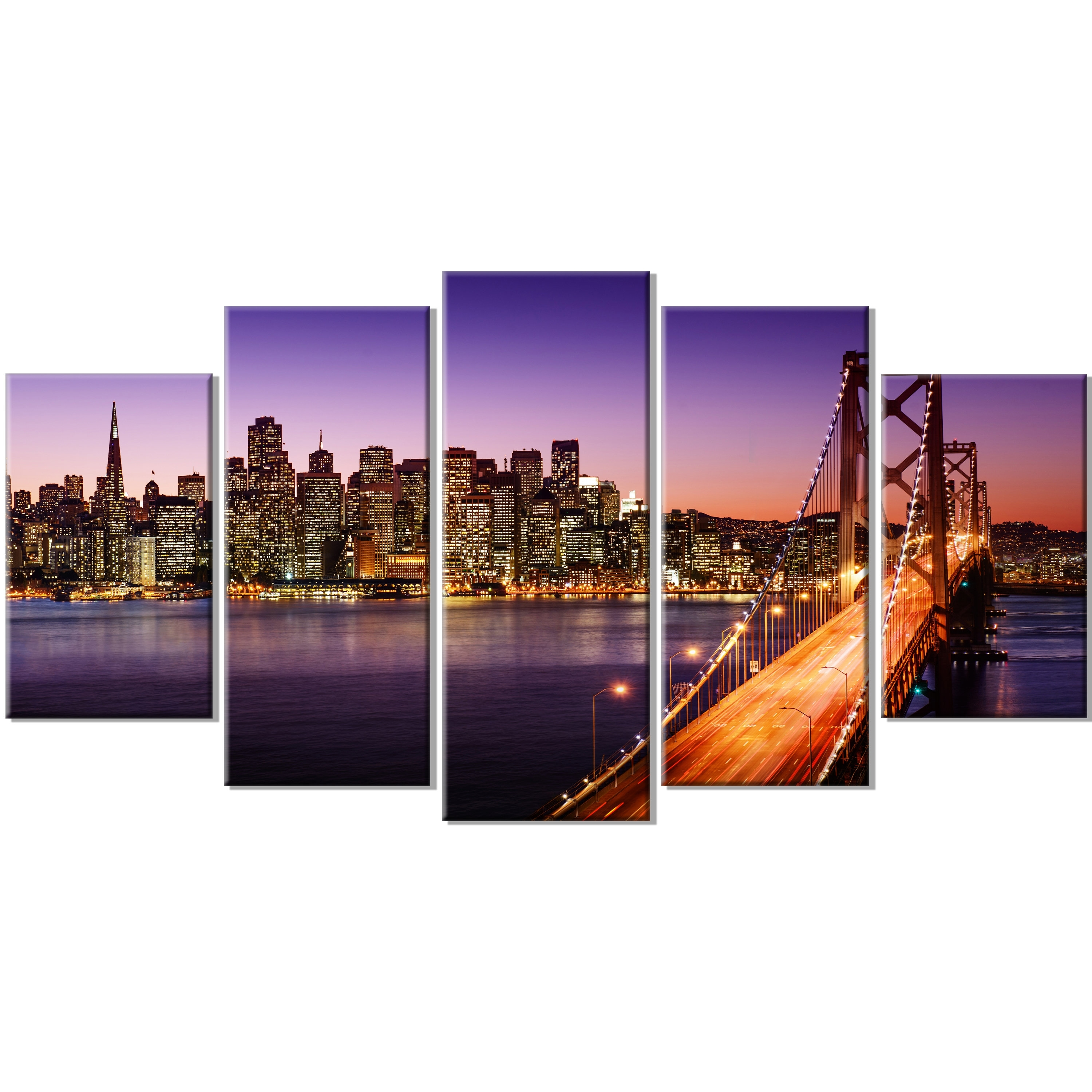 Well Liked San Francisco Wall Art Within Designart 'san Francisco Skyline And Bay Bridge Sea Bridge' 5 Piece (View 4 of 20)