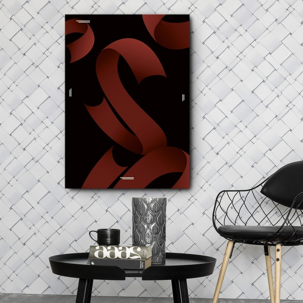 Well Liked Tile Canvas Wall Art Inside Mod Made Red Ribbons Canvas Wall Art (View 14 of 20)