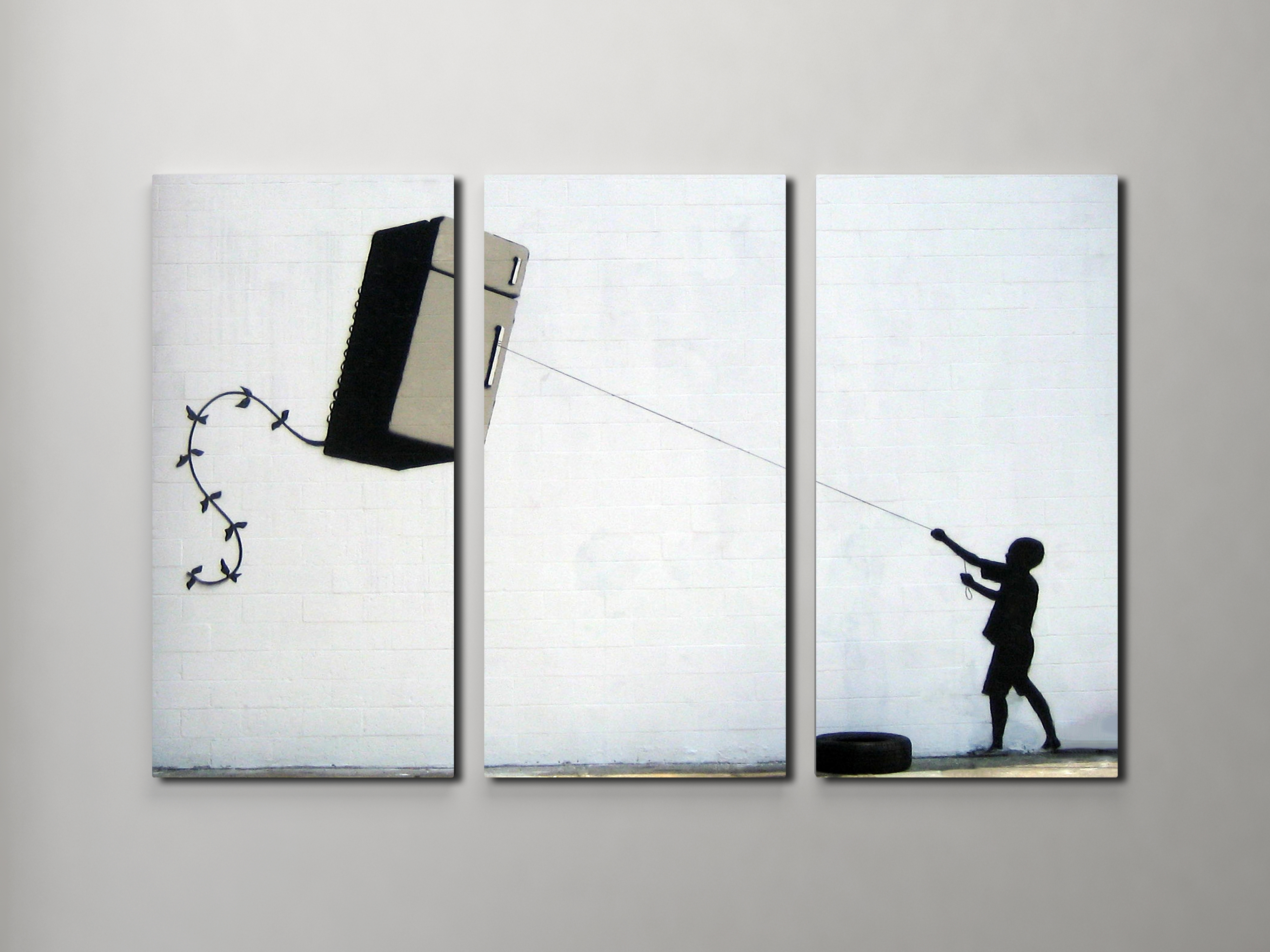 Well Liked Triptych Wall Art With Banksy Fridge Kite Triptych Canvas Wall Art (View 20 of 20)