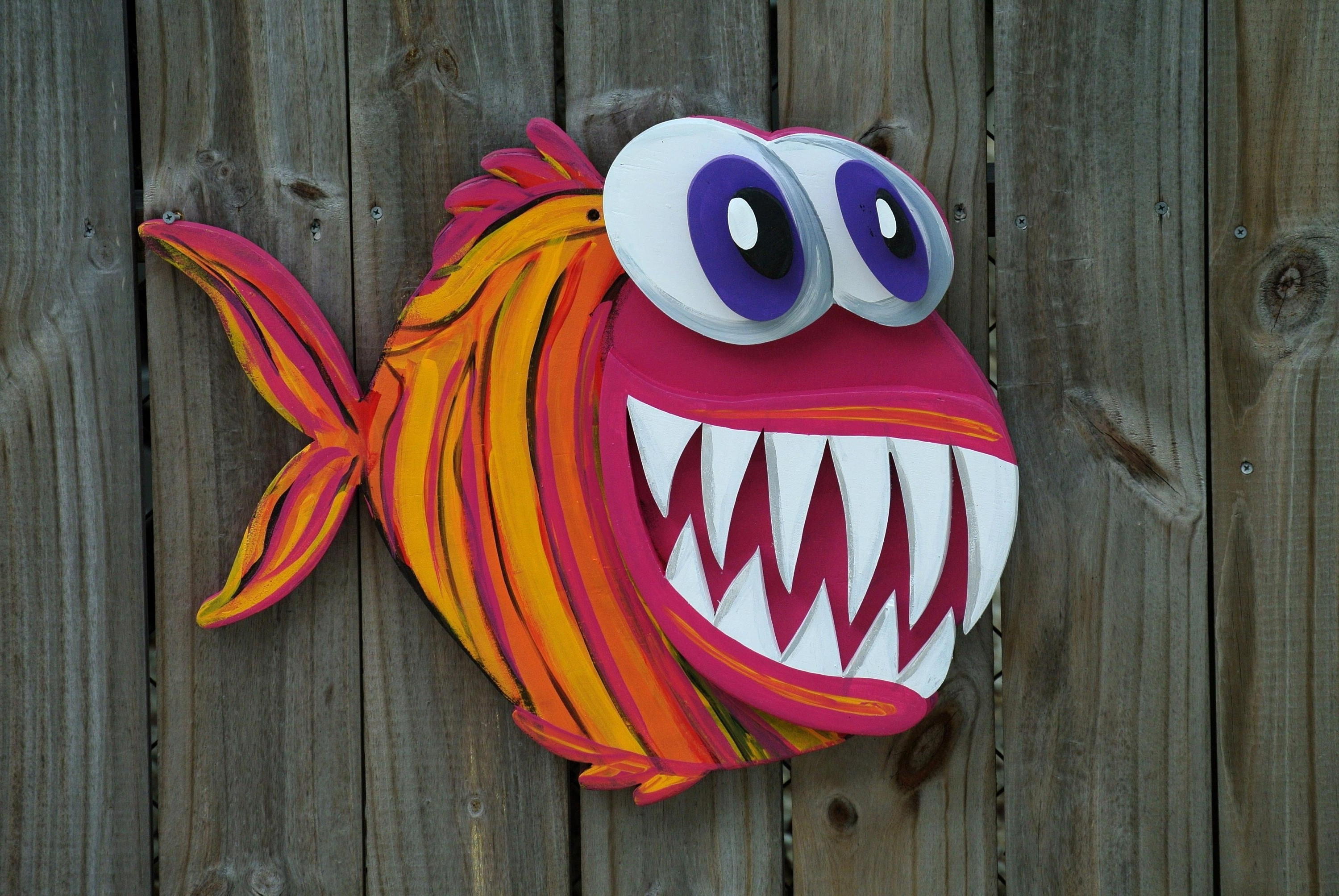 Well Liked Valentines Gift Idea 3d Angler Fish Wood Sign, Large Outdoor Wall Inside Large Outdoor Wall Art (View 13 of 20)