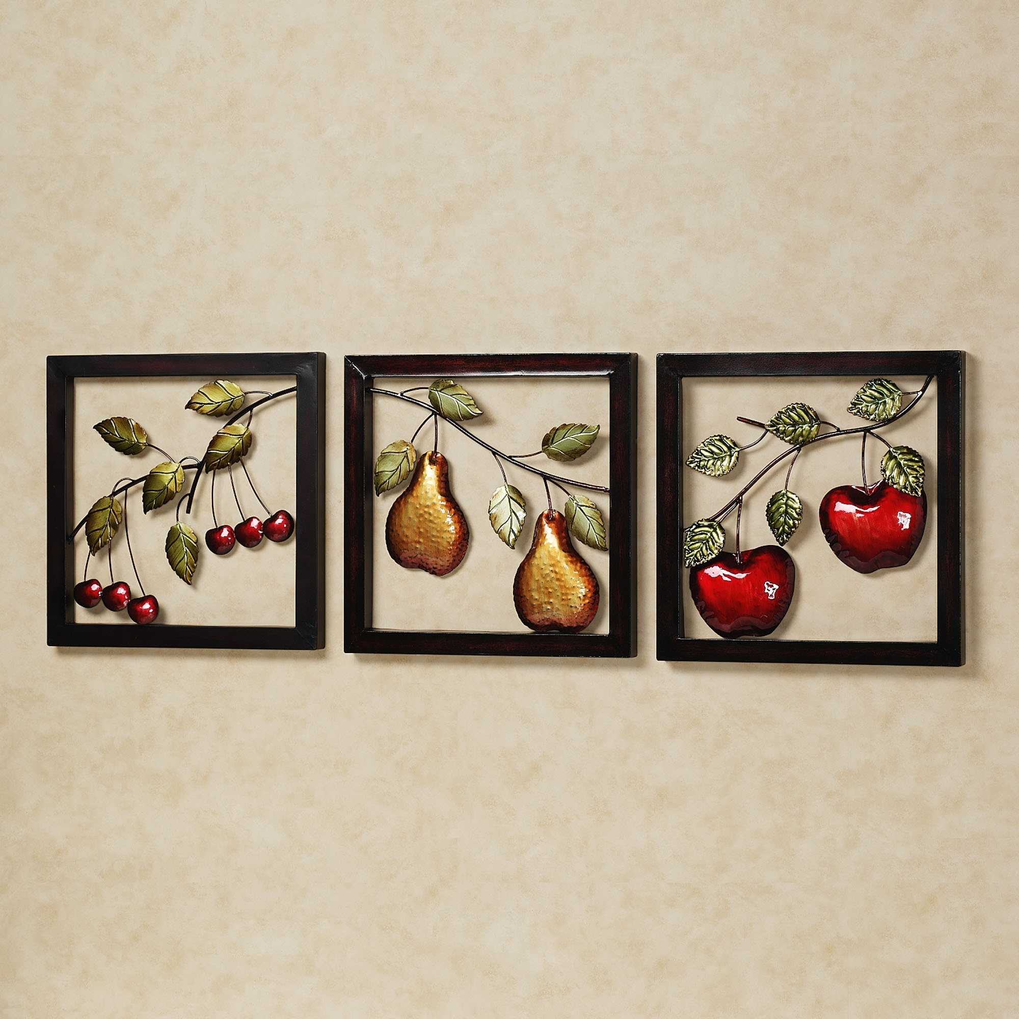 Well Liked Wall Art For Kitchen Intended For Beautiful Fruits Metal Wall Art Decor Kitchen With Black Frame Ideas (View 15 of 20)
