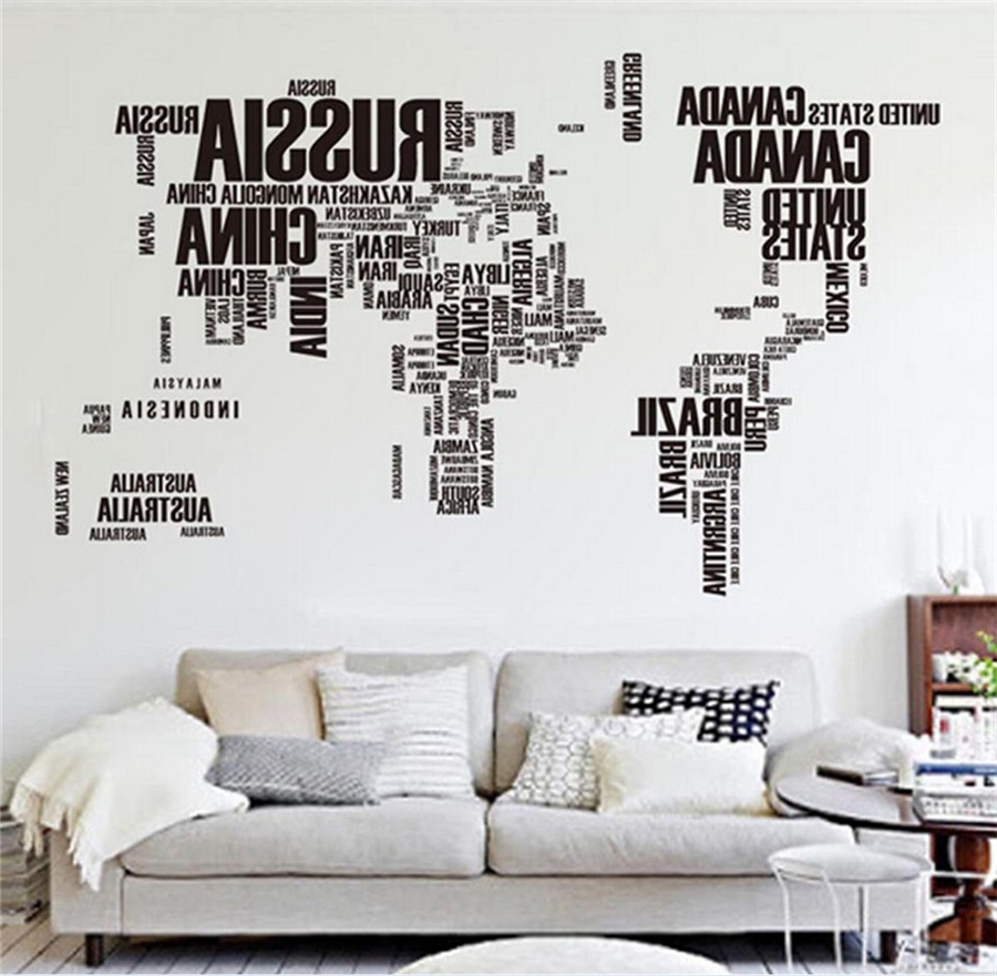 Well Liked Wall Art Stickers World Map Inside Big Global World Map Atlas Removable Vinyl Wall Art Decal Sticker (Gallery 19 of 20)
