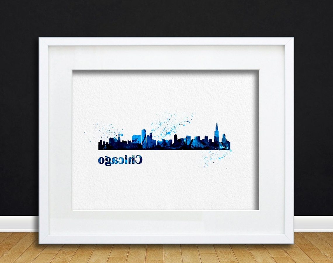 Well Liked Watercolor Art Cityscape Chicago Gift Modern 8X10 Wall Art Decor With Chicago Wall Art (View 13 of 15)