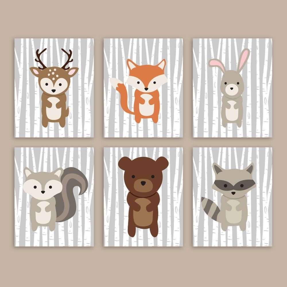 Well Liked Woodland Nursery Wall Art Forest Animals Woodland Wall Art, Forest With Woodland Nursery Wall Art (View 11 of 20)