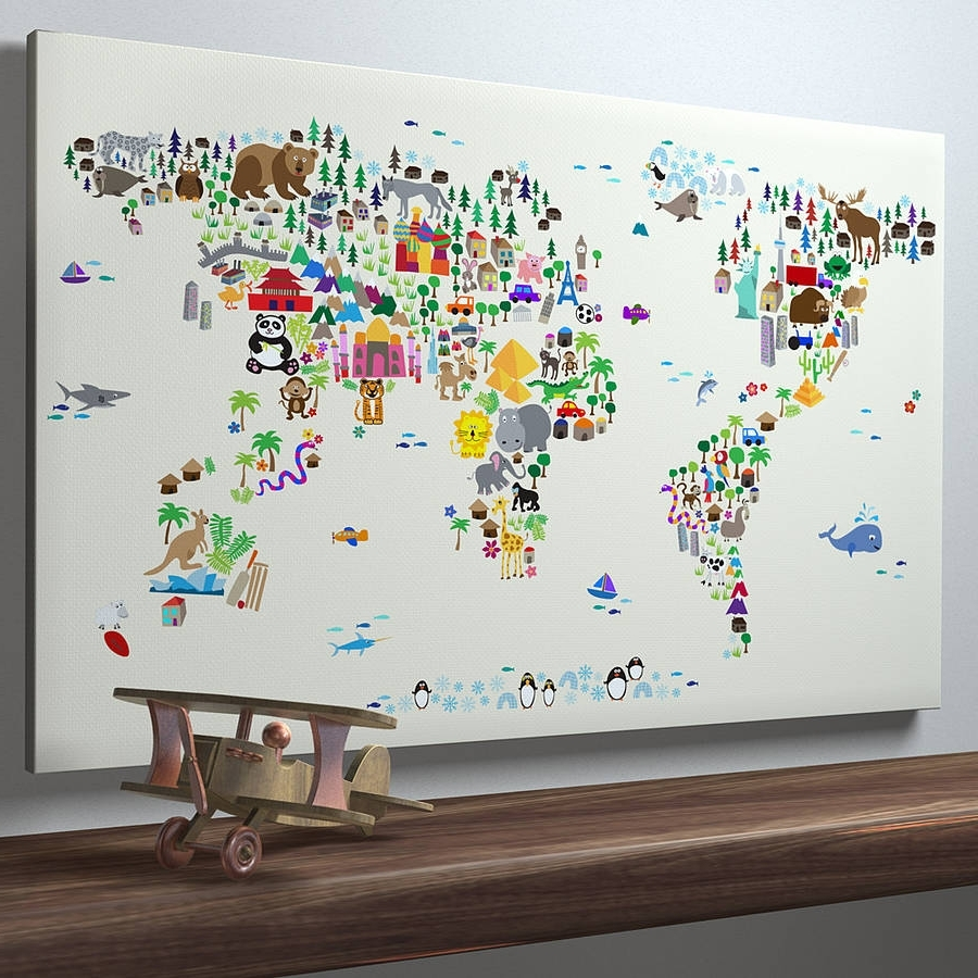 Well Liked World Map Wall Art For Kids With Regard To Kids World Map Wall Art (View 16 of 20)