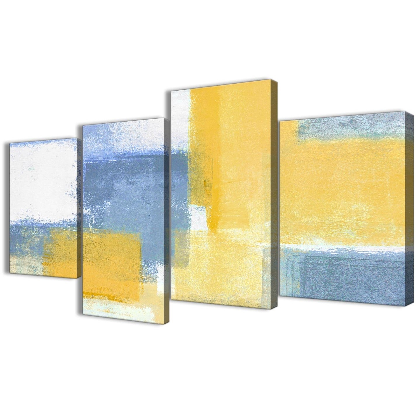 Well Liked Yellow Wall Art With Large Mustard Yellow Blue Abstract Living Room Canvas Pictures Decor (View 10 of 20)