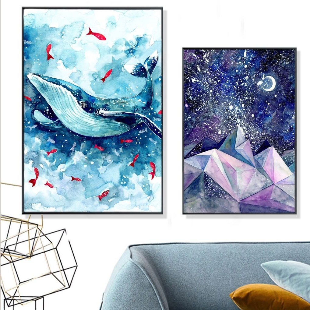 Whale Canvas Wall Art Inside Most Recent Dreaming Watercolor Whale & Mountain Canvas Print, Wall Art, Poster (View 13 of 20)