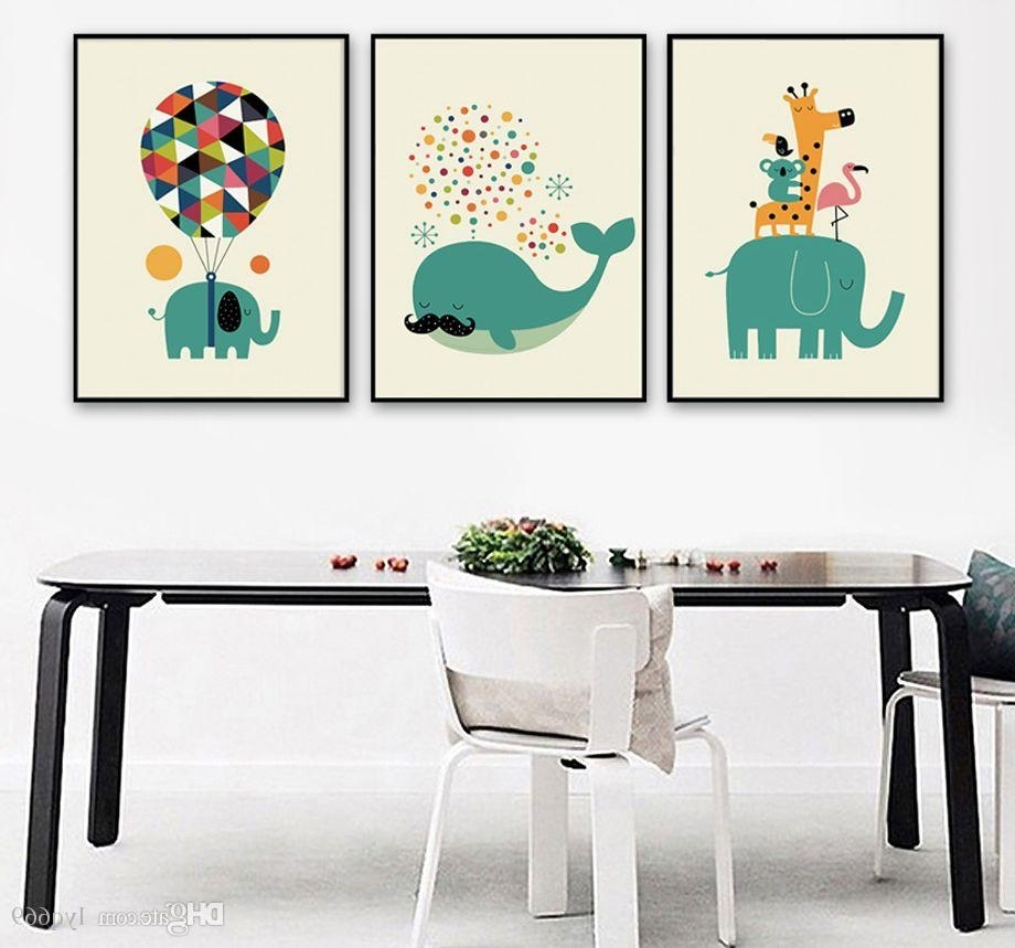 Whale Canvas Wall Art Inside Well Known 2018 Canvas Painting Nordic Watercolor Cartoon Animals Whale (Gallery 15 of 20)