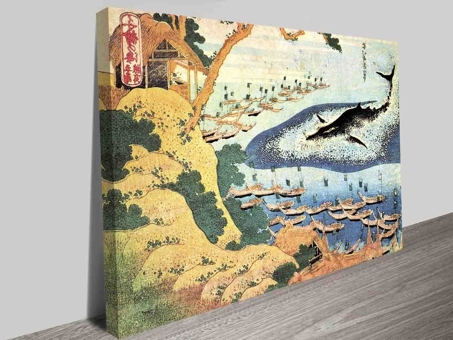 Whale Canvas Wall Art Inside Well Liked Katsushika Hokusai Ocean Landscape And Whale Wall Art Prints On (View 7 of 20)