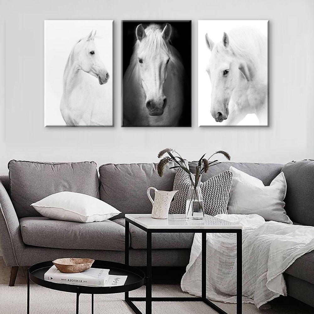 White Horse Wall Art Canvas Prints Modern Art Home Decor For Living With Well Known Horse Wall Art (View 5 of 15)