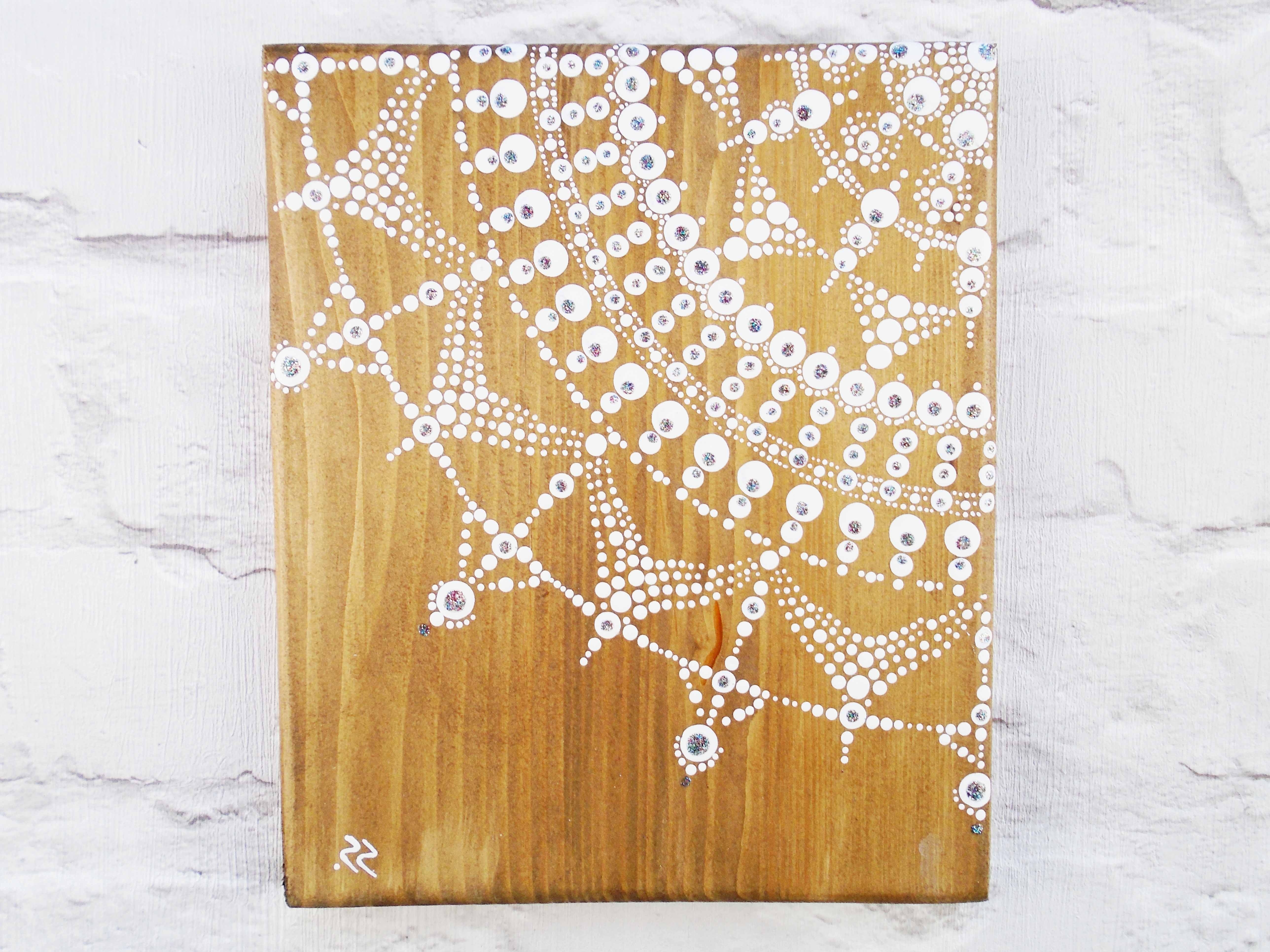 White Mandala On Rustic Wood (View 18 of 20)
