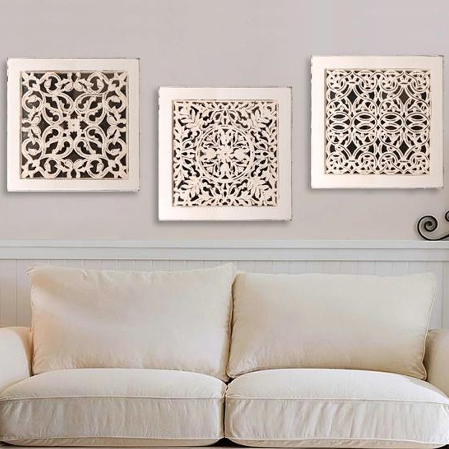 White Wall Art With Regard To Well Known Fretwork Wall Art: White (Set Of 3) (View 18 of 20)