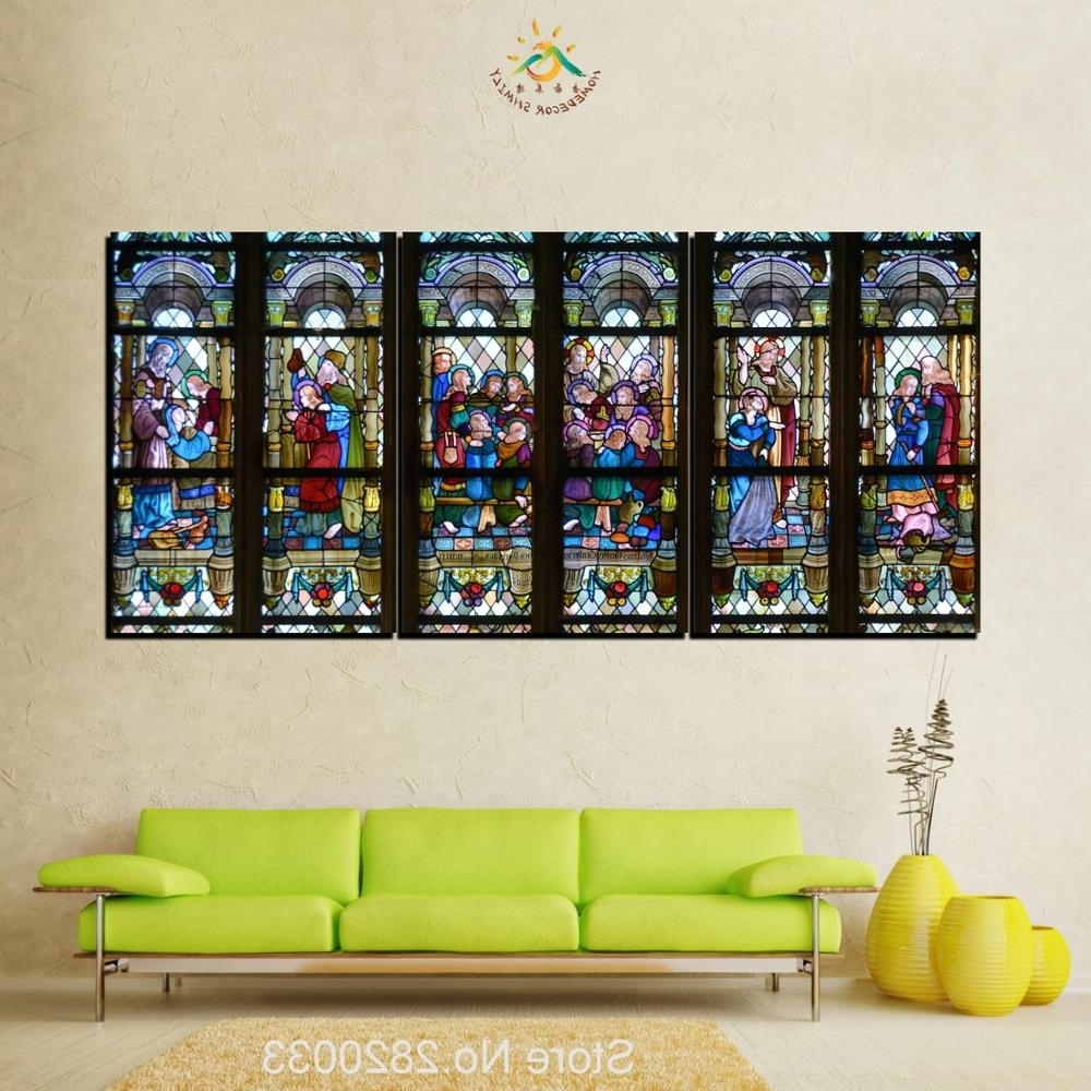 Widely Used 3 Piece Christian Stained Glass Style Flower Glass Canvas Wall Art With Regard To Stained Glass Wall Art (View 20 of 20)