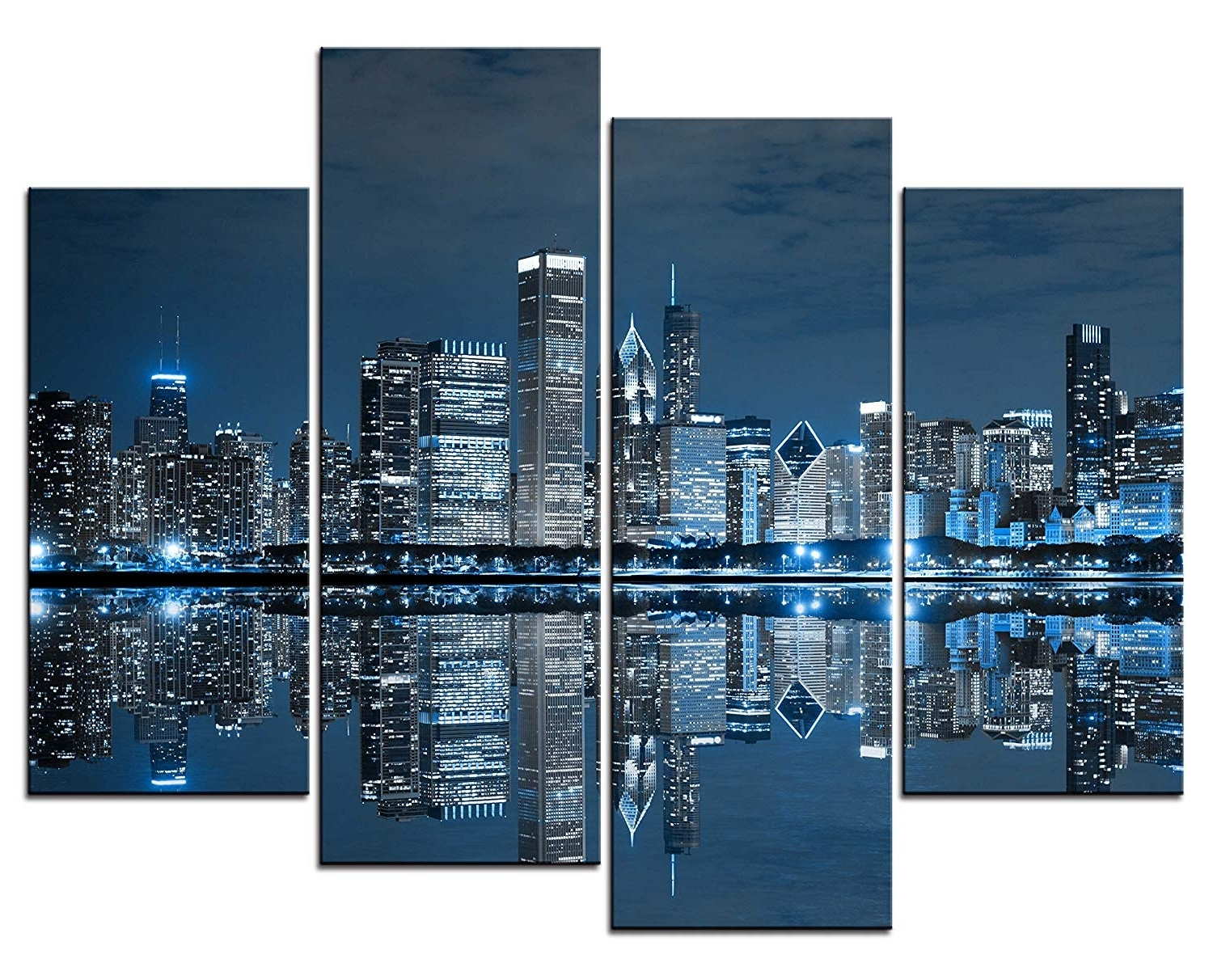 Widely Used Amazon: Smartwallart@ – 4 Panel Wall Art Painting Chicago Throughout Chicago Wall Art (View 14 of 15)