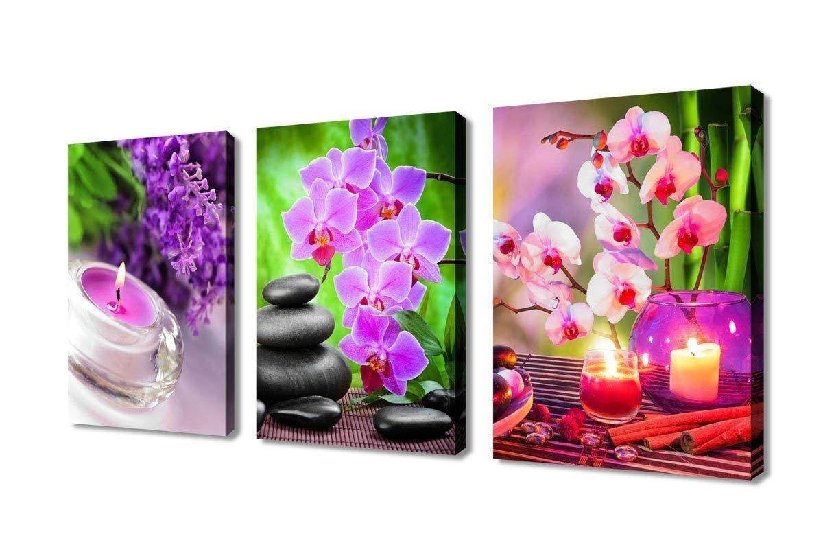 Widely Used Amazon: Zen Canvas Wall Art Spa Pictures Stone Green Bamboo Pink For Pink Wall Art (View 20 of 20)
