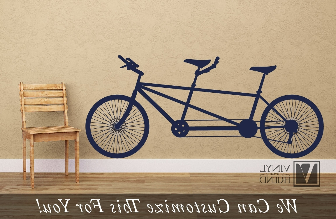 Widely Used Bicycle Wall Art In Tandem Road Bicycle Retro Vintage Wall Decor Vinyl Decal A Sports (View 20 of 20)