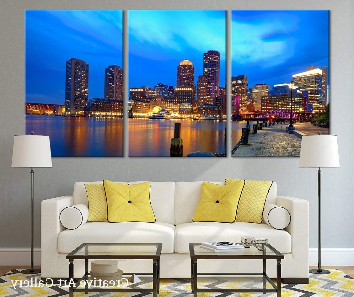 Widely Used Boston Wall Art For Amazon: Boston Sunset Skyline In Massachusetts Large Canvas (Gallery 2 of 20)