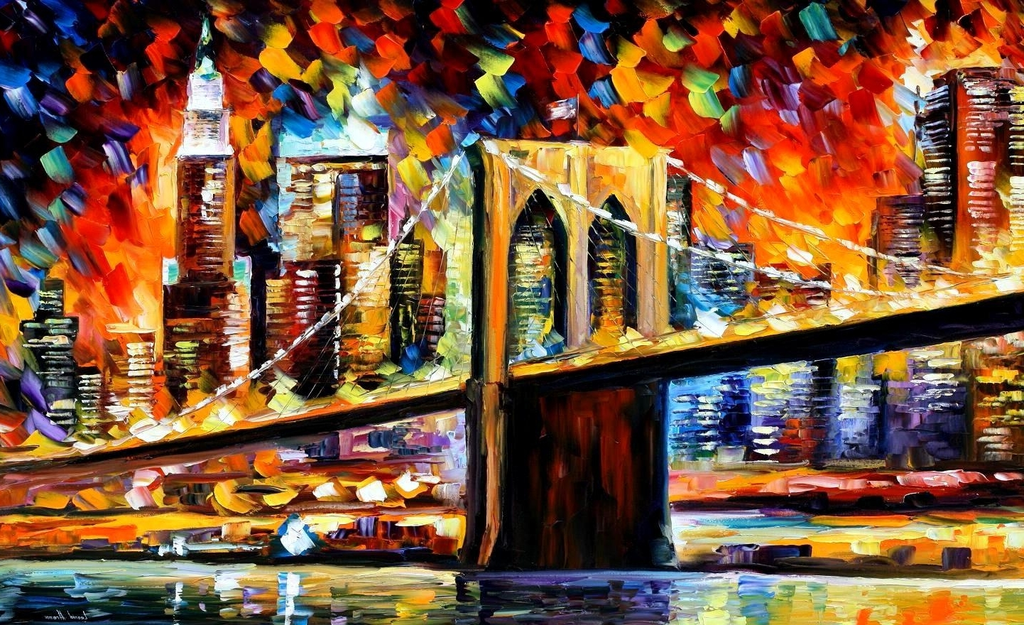 Widely Used Brooklyn Bridge — Palette Knife Oil Painting On Canvas Wall Art Pertaining To Nyc Wall Art (View 10 of 20)