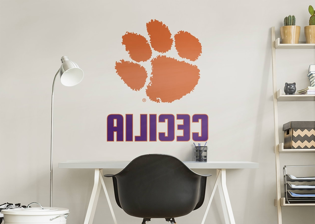 Widely Used Clemson Tigers Stacked Personalized Name Wall Decal (View 20 of 20)