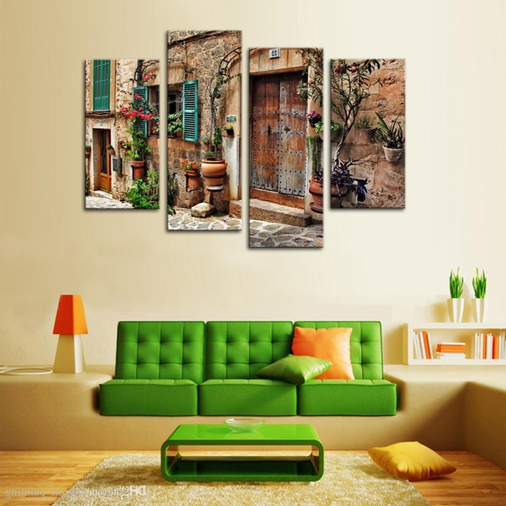 Widely Used Discount 4 Panels Wall Art Spanish Old Town Street Canvas Painting Throughout Discount Wall Art (View 2 of 20)
