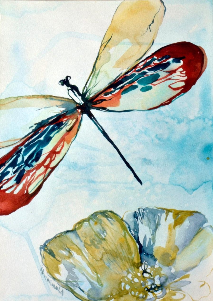 Widely Used Dragonfly Watercolor Original Painting. Contemporary Water Colour Within Dragonfly Painting Wall Art (Gallery 12 of 20)