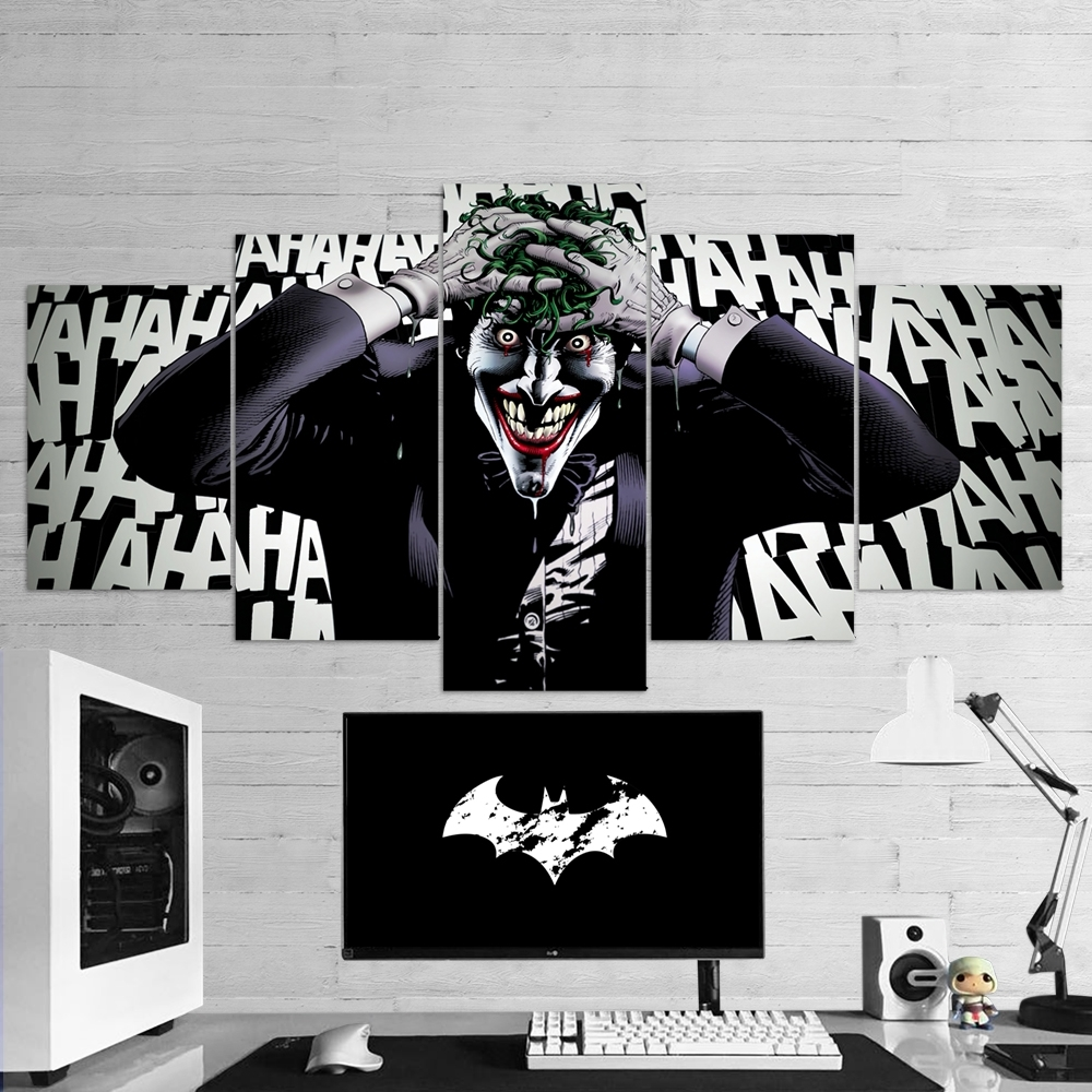 Widely Used Joker Wall Art For Batman 17 Joker Laugh 5 Piece Canvas Wall Art Gaming Canvas – Game (Gallery 16 of 20)