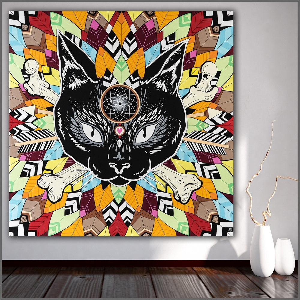 Widely Used Large Size Printing Oil Painting Abstract Black Cat Wall Art Canvas With Regard To Cat Canvas Wall Art (View 20 of 20)