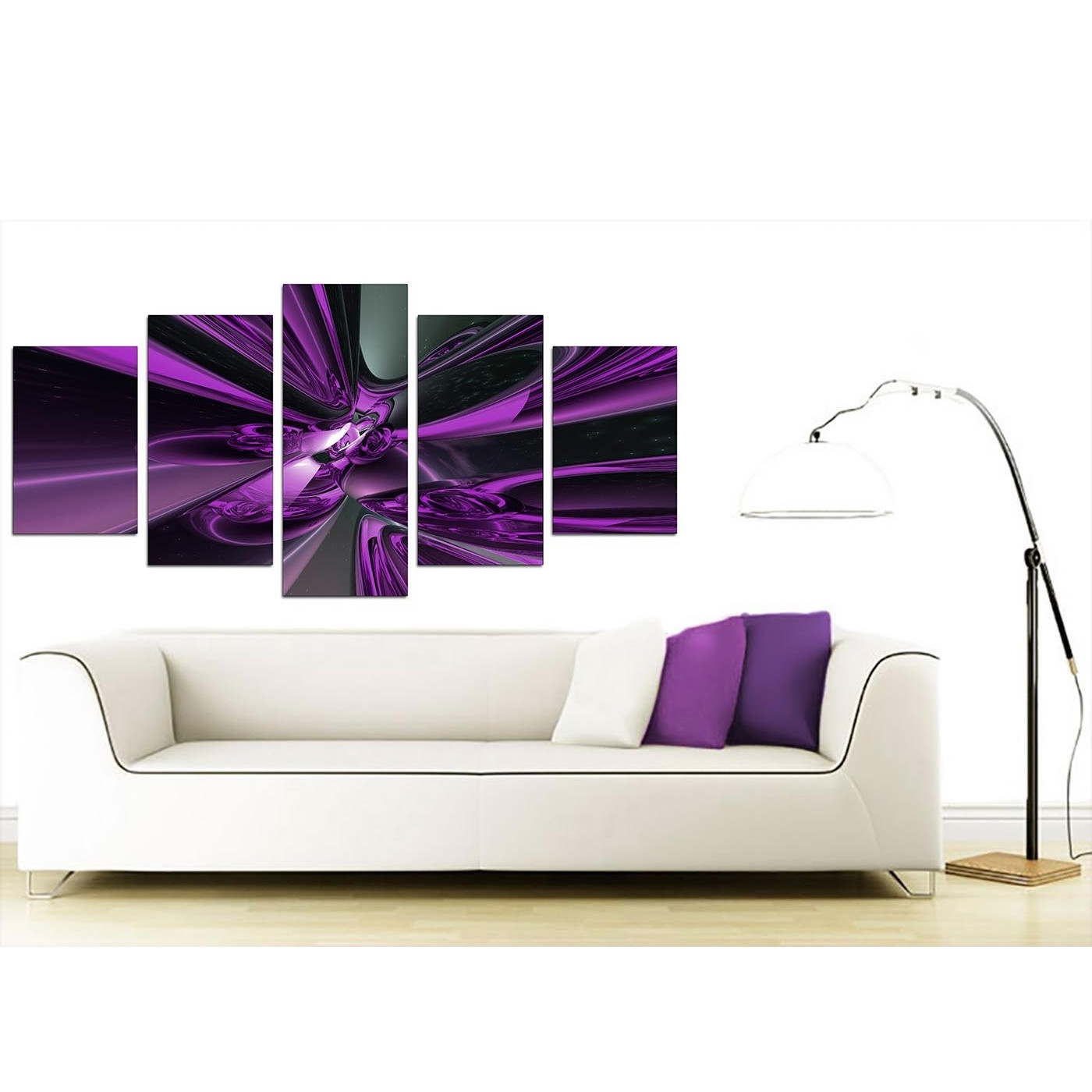 Widely Used Purple And Grey Wall Art In Extra Large Purple Abstract Canvas Prints Uk – 5 Piece (Gallery 6 of 20)