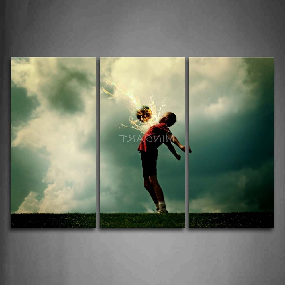 Widely Used Soccer Wall Art Inside 3 Piece Wall Art Painting A Kid And Soccer Surroundedfire (View 2 of 20)