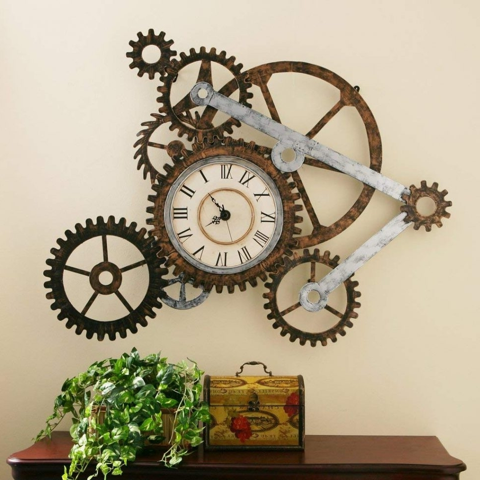 Widely Used Steampunk Wall Art Throughout Com Steampunk Wall Art With Clock Home Kitchen Decor Winsome Large (View 20 of 20)
