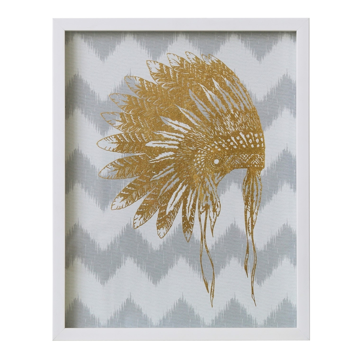 Widely Used Wall Art/canvas/mdf/perspex Frame/war Bonnet In Gold Foil/16*2*20/ 1 With Regard To Wall Art (View 13 of 15)