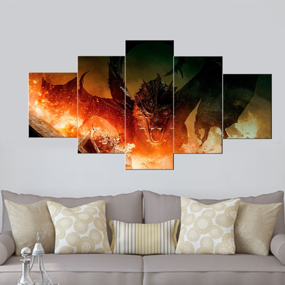 Widely Used Wall Art Panels For 5 Panel Canvas Painting The Hobbit Movie Painting Prints Posters (View 19 of 20)