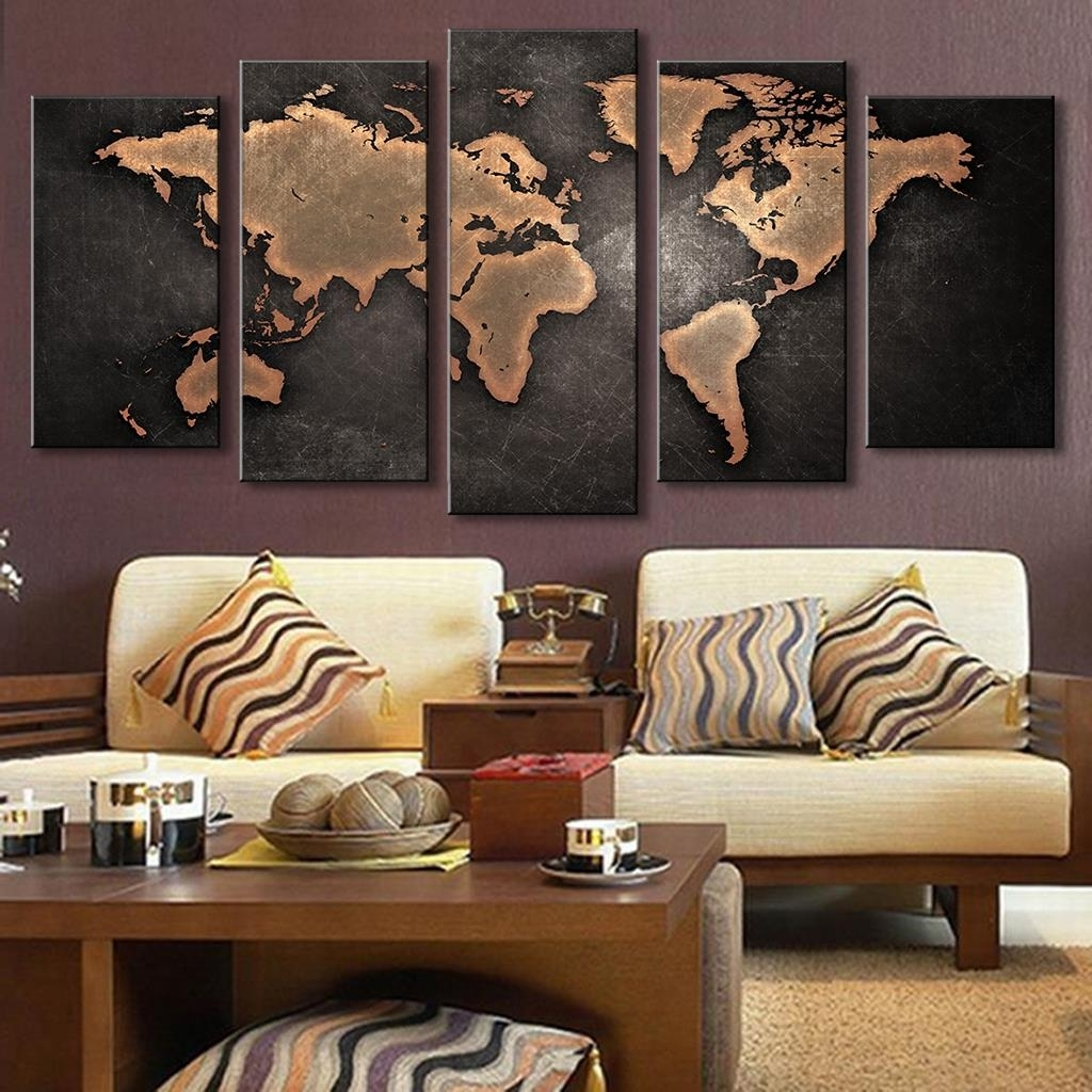Widely Used Wall Art World Map With 5 Pieces Modular Pictures For Home Abstract Wall Art Painting World (View 19 of 20)