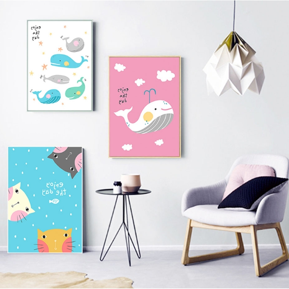 Widely Used Whale Canvas Wall Art In Nordic Fashion Happy Whale Cat Canvas Painting Animal Posters Prints (View 19 of 20)