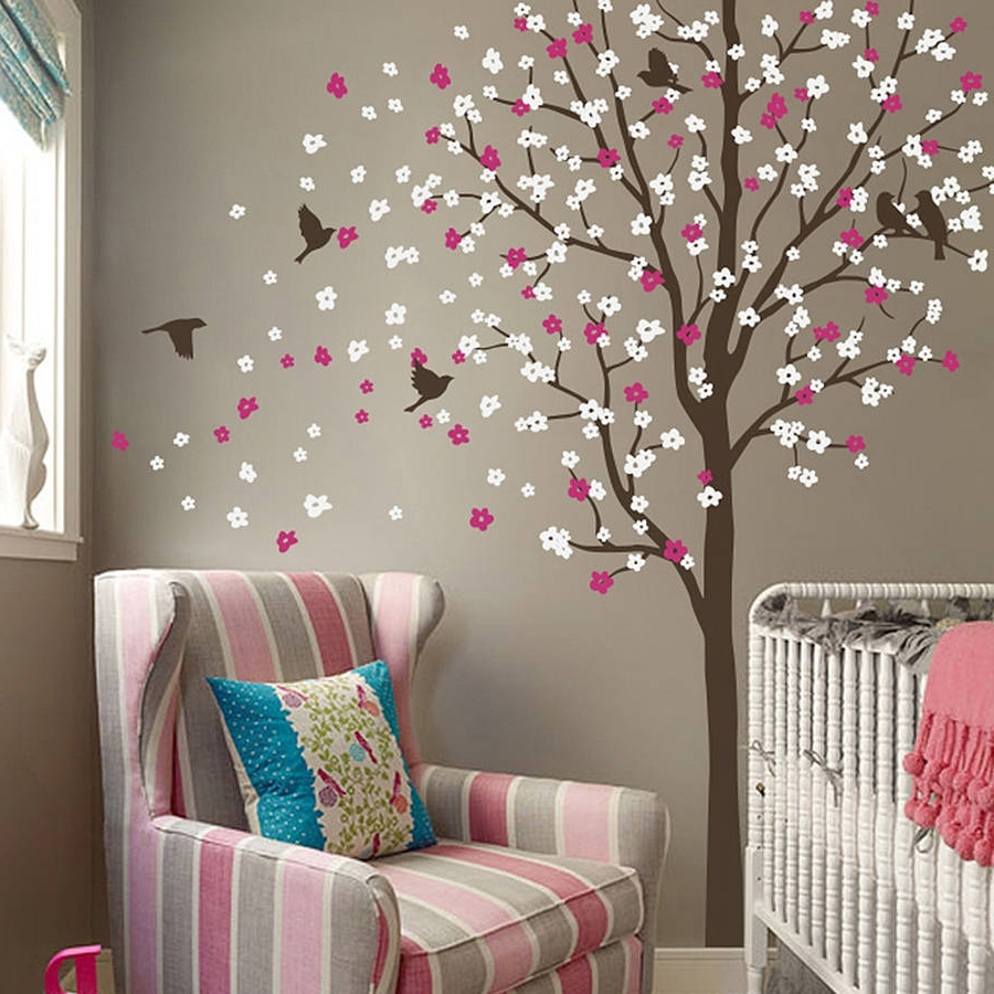 Wind Swept Tree With Birds Wall Stickerwall Art Regarding Trendy Tree Wall Art (View 15 of 15)