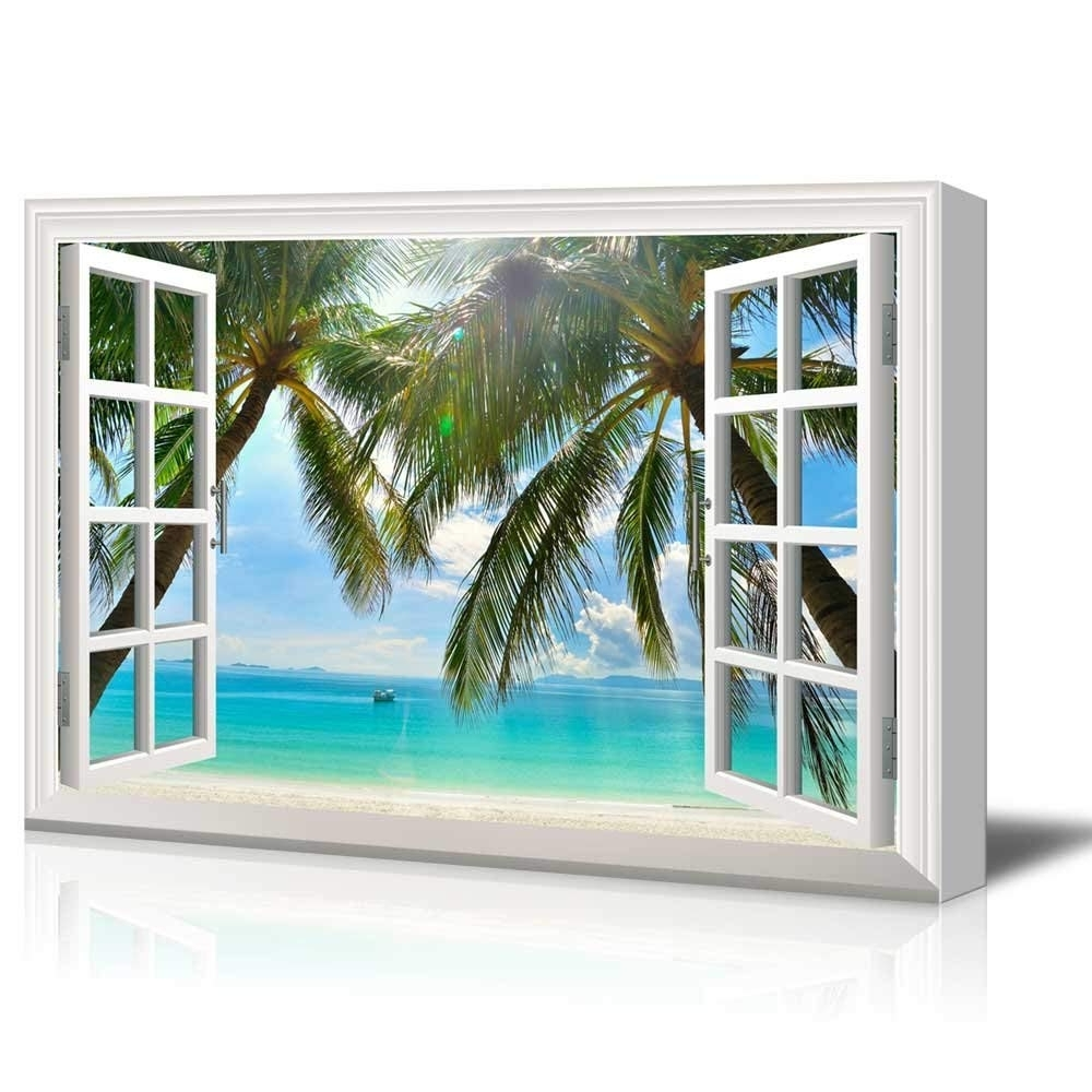 Window Frame Wall Art With Popular Print Window Frame Style Wall Decor Palm Trees And Tropical Beach (View 13 of 15)