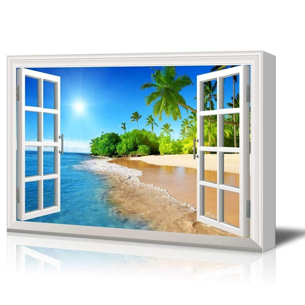 Window Frame Wall Art With Regard To Most Up To Date Print Window Frame Style Wall Decor Beautiful Tropical Beach With (View 14 of 15)