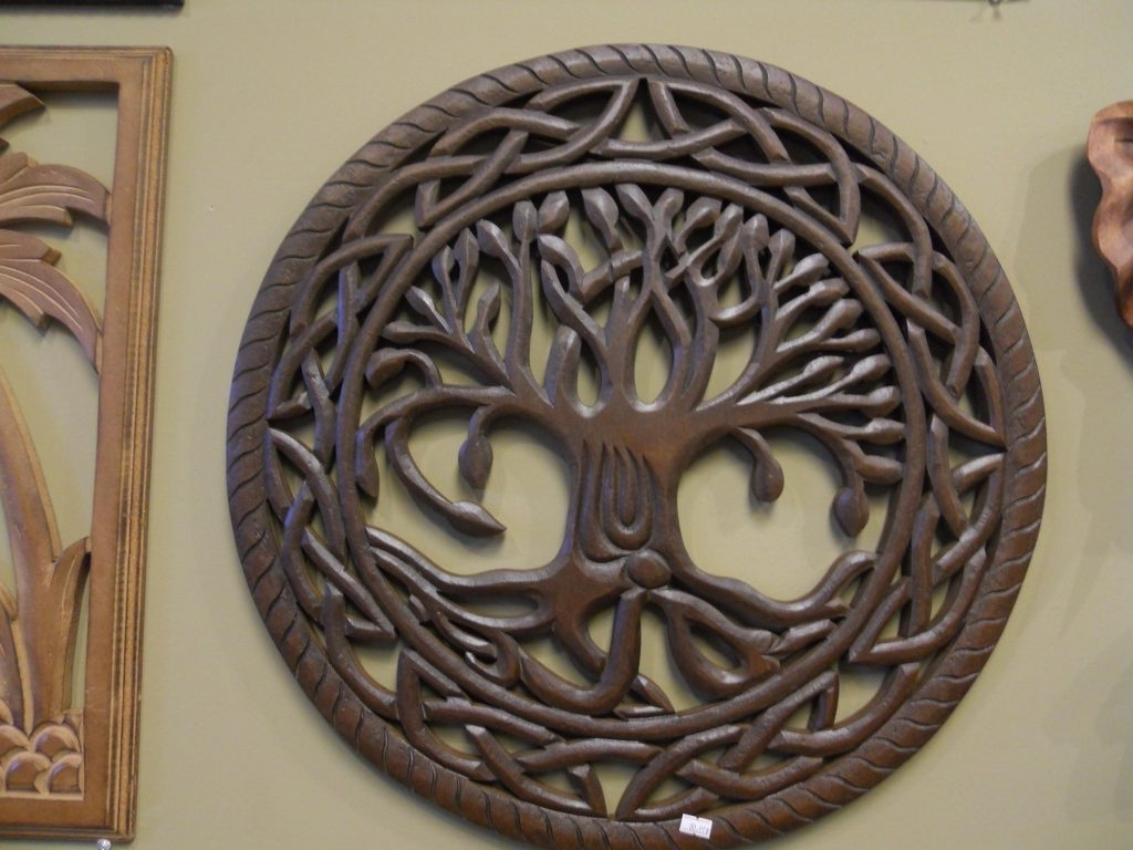 Wood Carved Wall Art Within Popular Tree Of Life Wall Art Wood Amazing Carving Decor Overstock Within  (View 20 of 20)