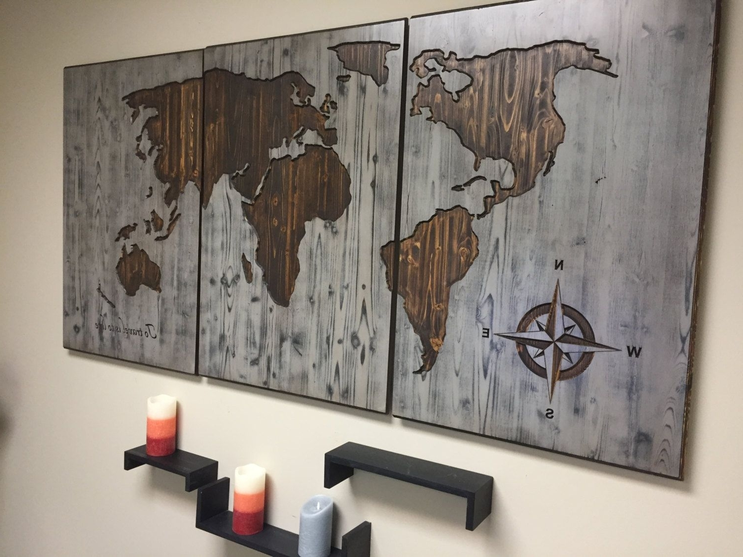 Top 20 of Wood Map Wall Art